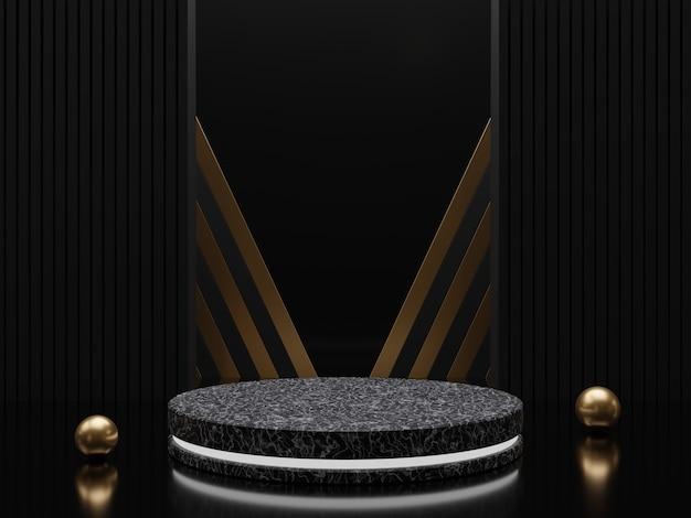 金色のフレームと装飾の3dレンダリングを備えた大理石の台座または表彰台