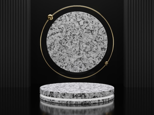 Marble pedestals or podiums with golden frames and decor 3d rendering