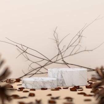 Мраморный подиум и веточки с сухими листьями