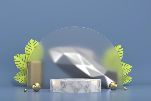 Мраморный подиум для витрины с изображением листьев монстеры 3d рендеринг