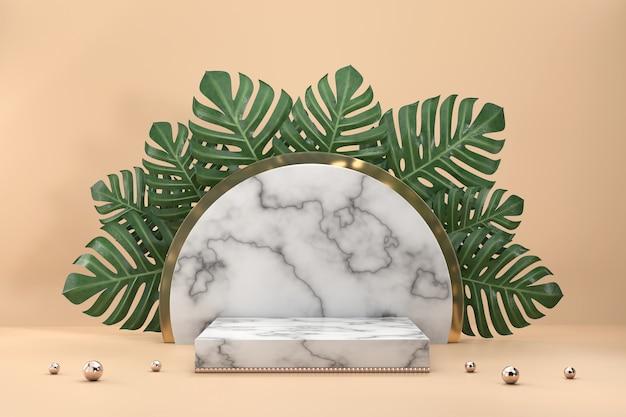 モンステラの葉の装飾3dレンダリングを備えた製品展示ショーケースの大理石の表彰台