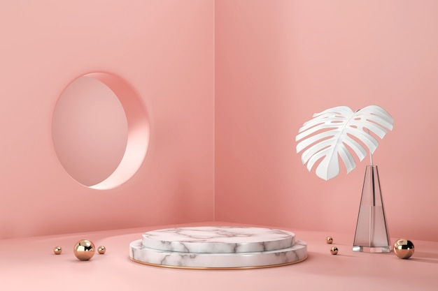 Monstera 냄비 장식 3d 렌더링 제품 디스플레이 쇼케이스를위한 대리석 연단