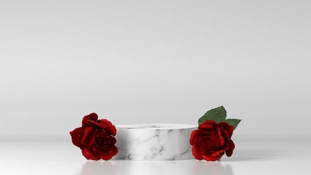 장미로 장식 된 제품 배치 용 마블 포디움