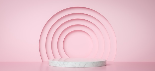 분홍색 동그라미와 제품 프리젠 테이션을위한 대리석 연단, 3d 렌더링 배경