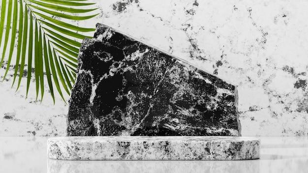 흰색 대리석 돌 배경 3d 렌더링에 대리석 연단