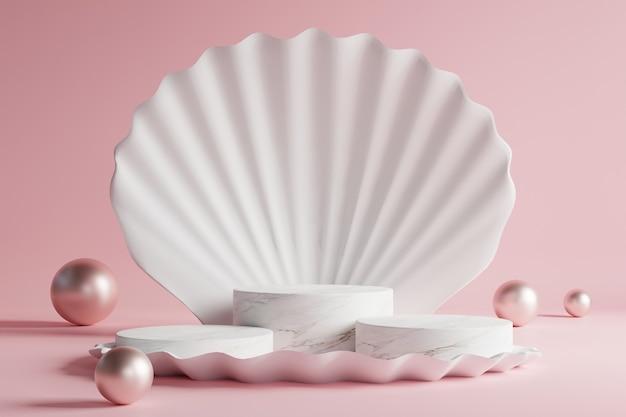 대리석 연단은 아름다운 분홍색 배경의 흰색 껍질에 배치됩니다.