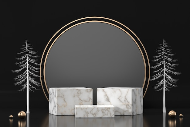 Marble podium for product display showcase in black background 3d rendering