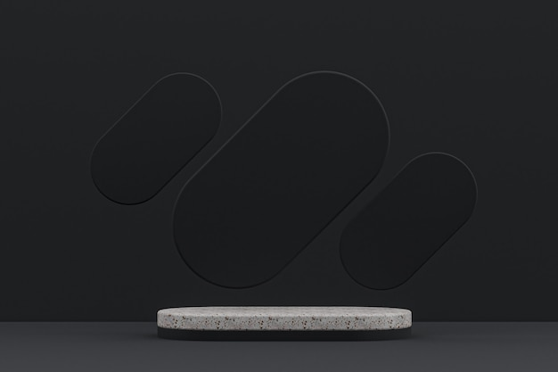 Marble podium shelf or empty product stand minimal style on black background for cosmetic product presentation.