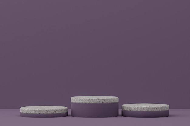 Marble podium shelf or empty product stand minimal style on purple background for cosmetic product presentation.