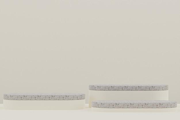 대리석 연단 선반 또는 빈 제품 화장품 프레젠테이션을 위해 베이지에 최소한의 스타일을 서십시오.