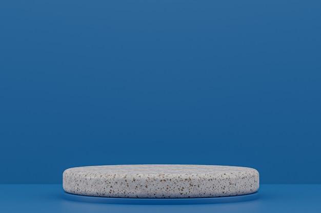 Мраморная полка подиума или пустая подставка для продуктов в минималистском стиле на темно-синем фоне для презентации косметической продукции.