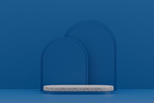 대리석 연단 선반 또는 빈 제품 화장품 제품 프리젠 테이션을 위해 진한 파란색 배경에 최소한의 스타일을 서십시오.