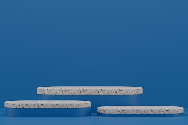 대리석 연단 선반 또는 빈 제품 화장품 프레젠테이션을 위해 진한 파란색에 최소한의 스타일을 서십시오.