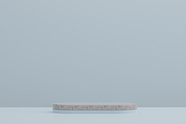 대리석 연단 선반 또는 빈 제품 화장품 제품 프리젠 테이션을 위해 밝은 파란색 배경에 최소한의 스타일을 서십시오.