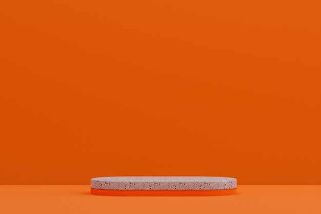 Мраморная полка подиума или пустая подставка для продуктов в минималистском стиле на оранжевом фоне для презентации косметической продукции.