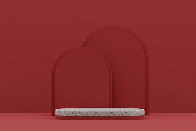 Мраморная полка подиума или пустая подставка для продуктов в минималистском стиле на красном фоне для презентации косметической продукции.
