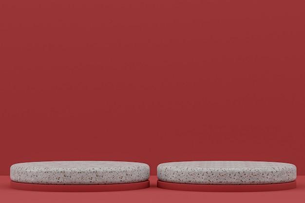 大理石の表彰台の棚または空の製品スタンド化粧品のプレゼンテーション用の赤の最小限のスタイル。