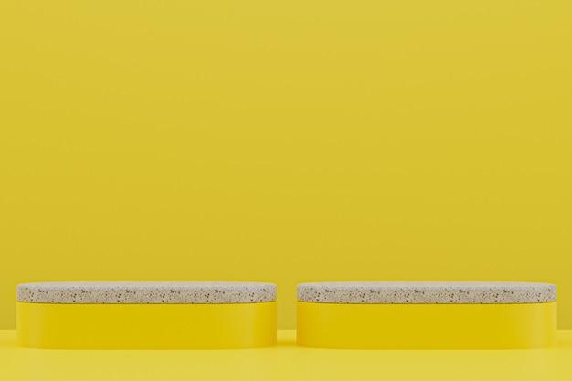 Мраморная полка подиума или пустая подставка для продуктов в минималистском стиле на желтом фоне для презентации косметической продукции.