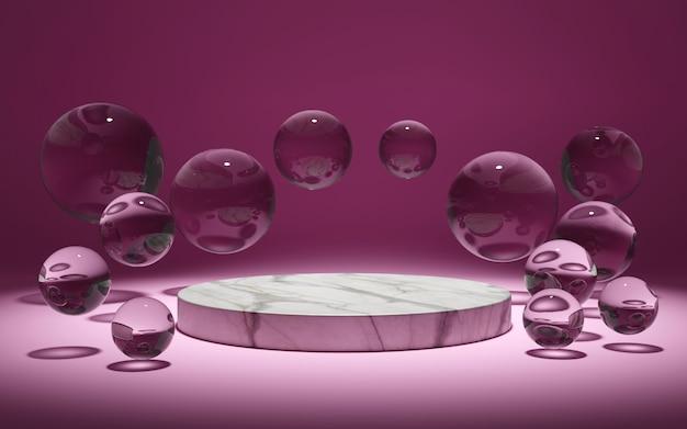 보라색 테이블에 유리 공으로 둘러싸인 대리석 연단, 3d 렌더링