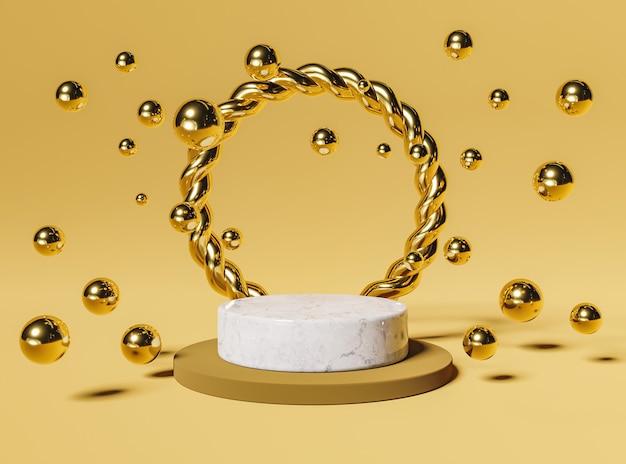 제품 전시를위한 황금 반지와 구체가있는 대리석 연단