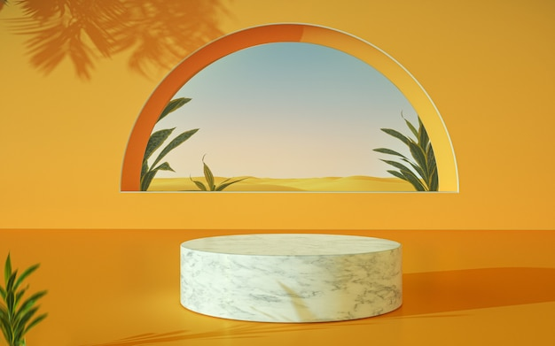 Marble podium with window on desert background with plants around orange color 3d rendering
