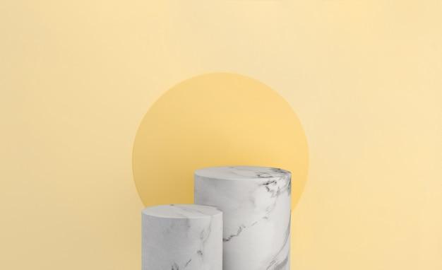 노란색 배경의 대리석 제품 디스플레이는 여름 햇살을 위한 현대적인 배경 스튜디오를 갖추고 있습니다. 빈 받침대 또는 연단 플랫폼. 3d 렌더링.
