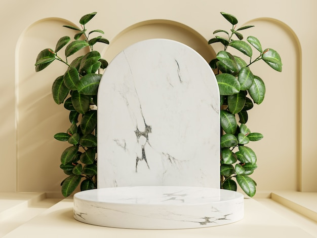 Marble product presentation podium with a cream color background.3d rendering