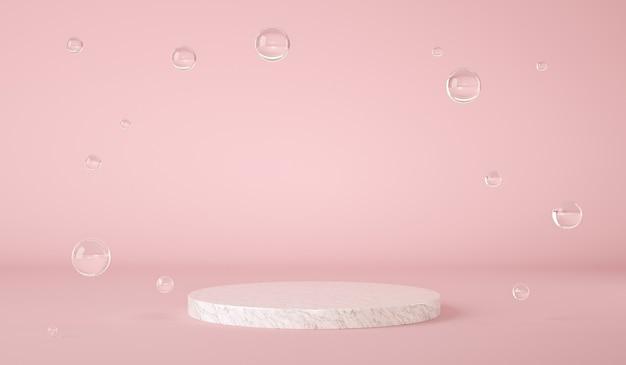 Подставка для мраморных изделий на розовом пастельном фоне с плавающими пузырьками d рендеринга