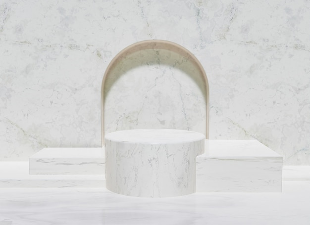 Marble product stand with central cylinder and square bases on the sides and arch at the back. 3d rendering
