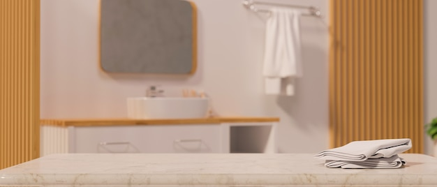 Marble stone tabletop with towels and mockup space over modern scandinavian bathroom 3d rendering