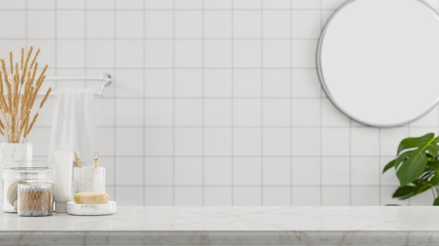 大理石のテーブルトップとミニマリストで清潔なバスルームの背景にモンタージュ用のモックアップスペース