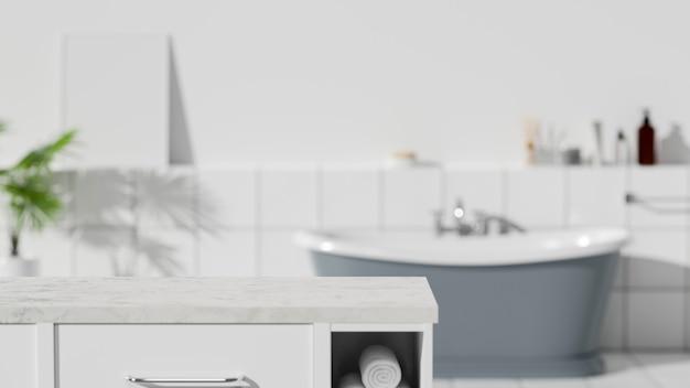Мраморная столешница для монтажа над современной ванной комнатой с интерьером ванны на фоне 3d-рендеринга