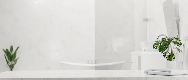Marble tabletop for montage with towel and houseplant over modern elegance bathroom 3d rendering
