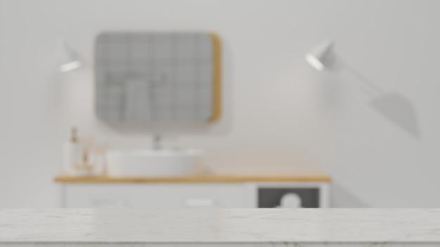 Мраморная столешница с пустым пространством для монтажа поверх размытой чистой минималистской ванной комнаты с 3d-рендерингом