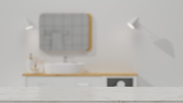Marble tabletop with empty space for montage over blurred clean minimalist bathroom 3d rendering