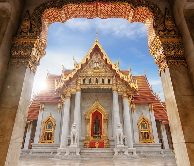 The marble temple, famous landmark place for tourist in bangkok thailand