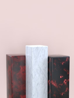 Marble texture geometric shape set blank podium/shelf 3d rendering