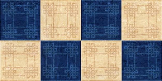 Мраморная плитка из квадратов. мозаика из натурального камня. фоновая текстура