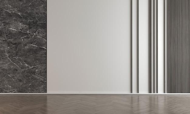 大理石の壁のリビングルームにはソファと装飾があり、インテリアのモックアップ、3dレンダリング