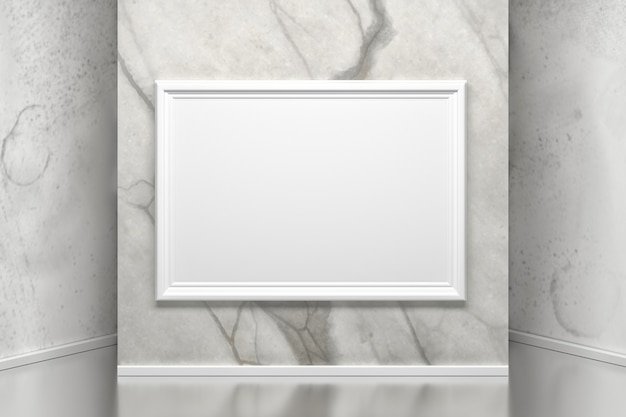 Marble wall with a picture frame in gallery.