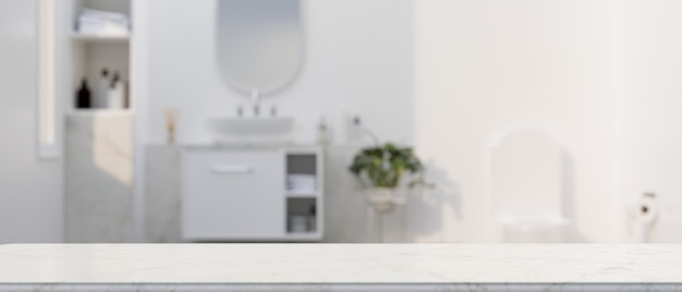 Marble white counter top for montage over elegance white bathroom interior in the background 3d