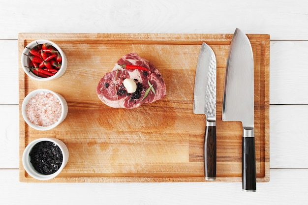 차돌박이 쇠고기 스테이크 준비, 평평하다