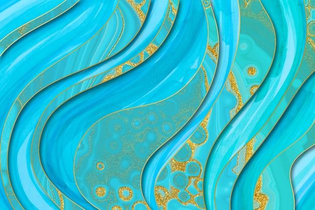 Мраморный синий и золотой абстрактный фон. цифровая имитация жидкого мрамора в стиле морской воды.