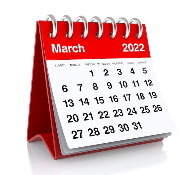 2022년 3월 달력입니다. 흰색 배경에 고립. 3d 일러스트레이션