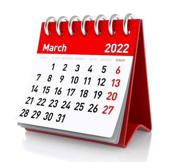 2022년 3월 - 달력. 흰색 배경에 고립. 3d 일러스트레이션