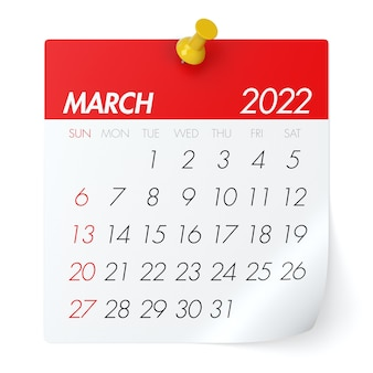 March 2022 - calendar. isolated on white background. 3d illustration