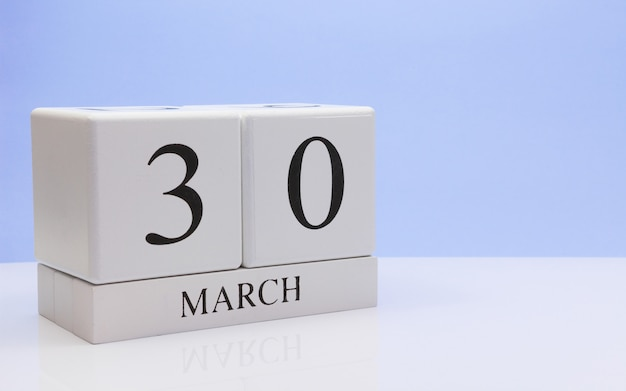 March 30st. day 30 of month, daily calendar on white.