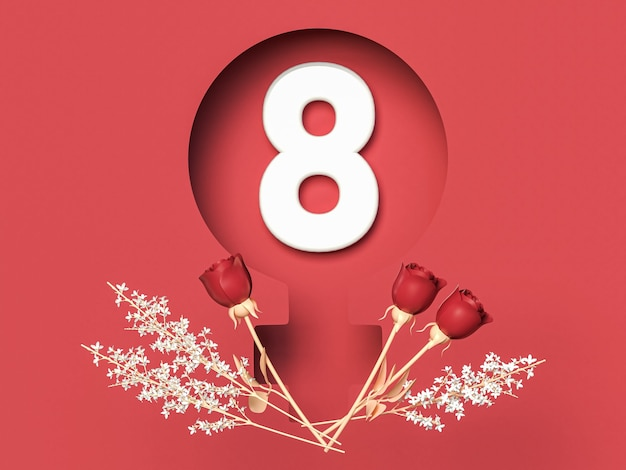 March 8 3d illustration with eight in femlae symbol with roses. international women day concept.