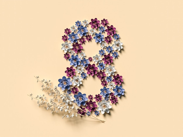March 8 3d illustration with eight made of flowers. international women day concept.