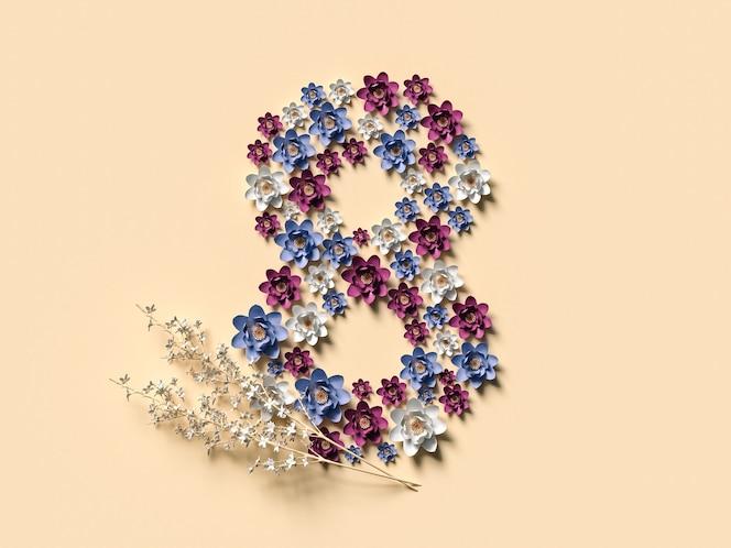8 марта 3d иллюстрации с восьмеркой из цветов. концепция международного женского дня.